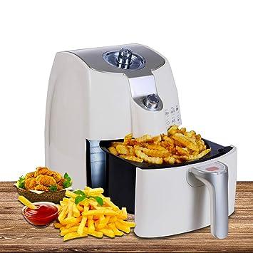 Multifuncional Freidora 1400W Freidora de humos, Casa Freído en sarten A la parrilla papas fritas Freidora eléctrica, Desmontable Fácil de limpiar - blanco: ...
