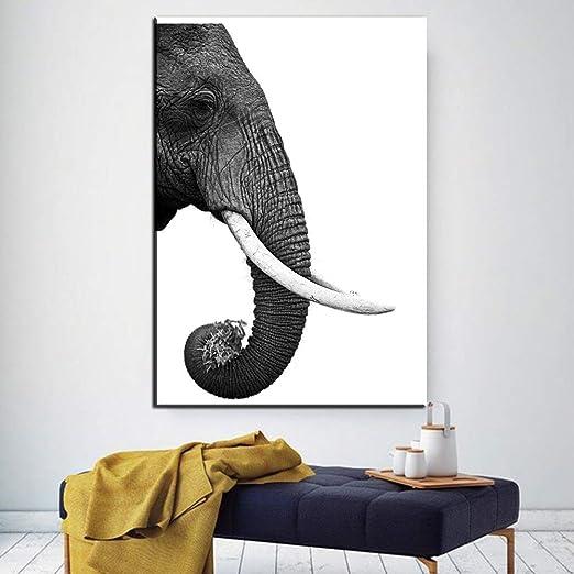 Jfsjdf Impression D éléphant Poster Blanc Noir Réaliste Art