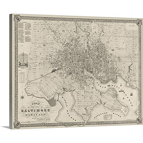 Vintage Map Plan of The City of Baltimore, Maryland Canvas Wall Art Print, 30