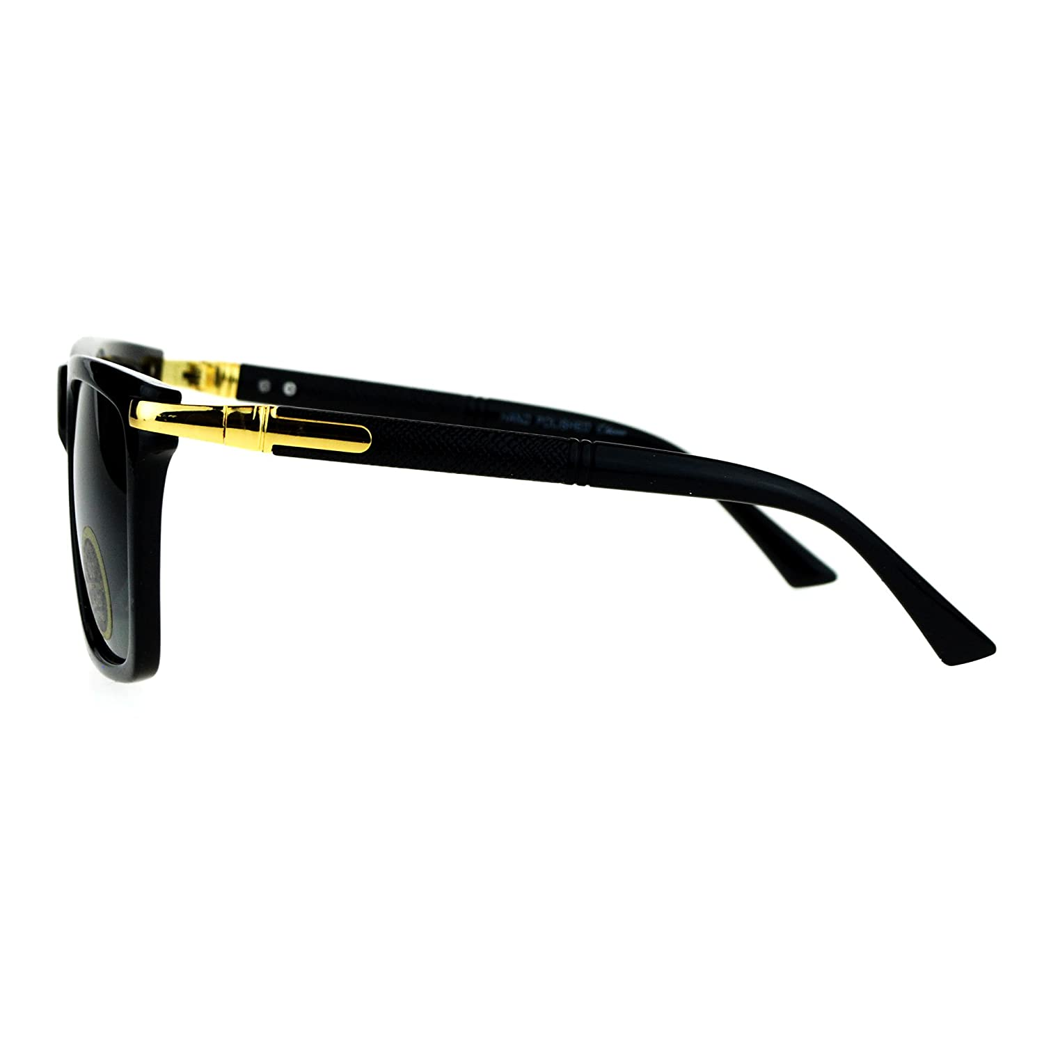 Mens Tempered Glass Lens Mobster Luxury Horn Rim Sunglasses