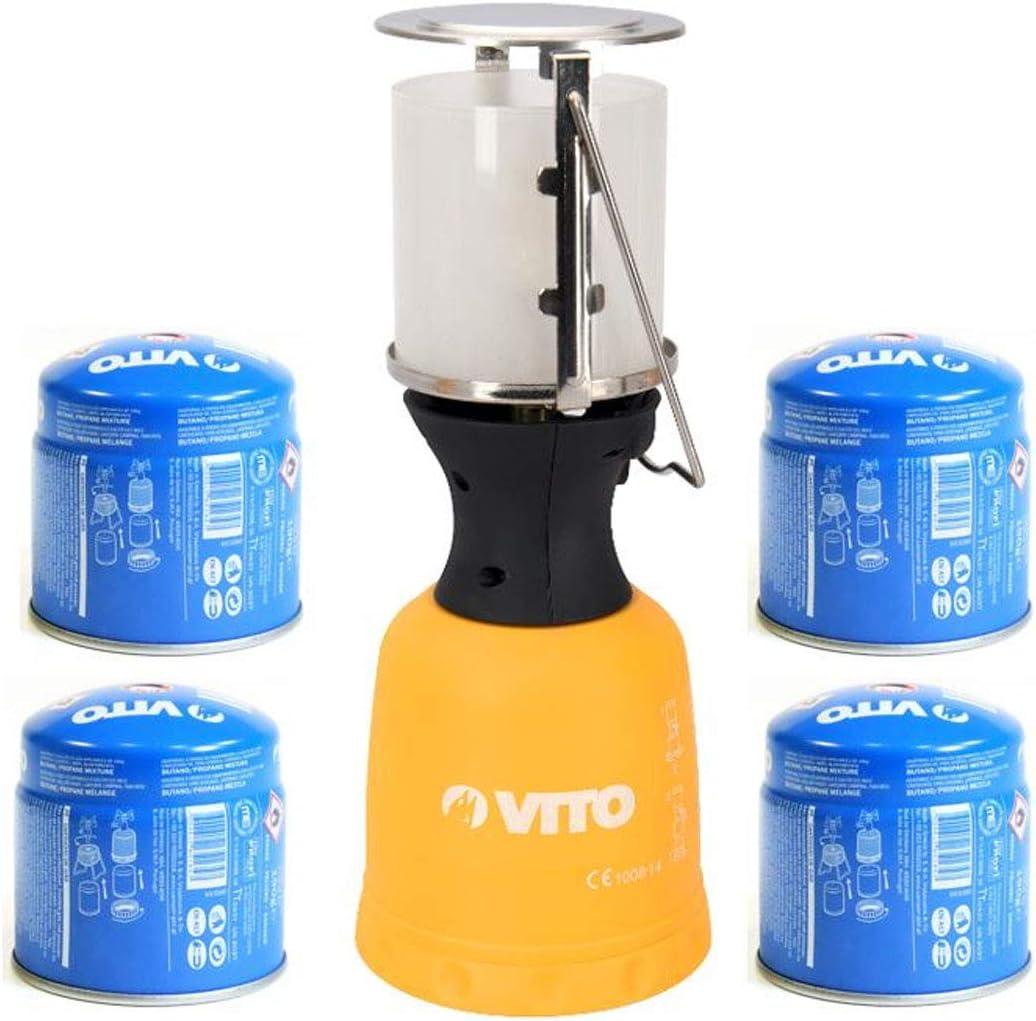Lampe /à gaz VITO 4 Cartouches gaz 190gr Lanterne pour bouteille camping gaz 190g per/çable