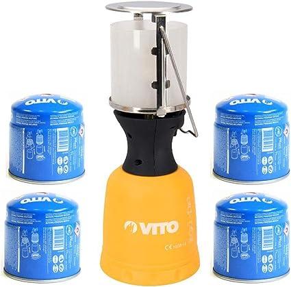 Lámpara de gas VITO + 4 cartuchos de gas 190 g encendido ...