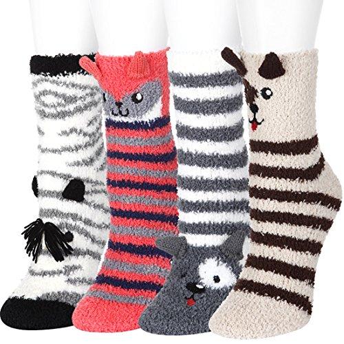 Fuzzy Fluffy Socks Women Girls FAYBOX 4D Cute Cartoon Animals Slipper Sleeping Winter Warm Thermal Microfiber Crew Socks Holiday Gifts