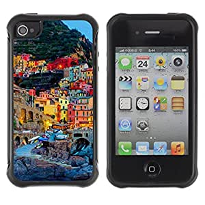 Hybrid Anti-Shock Defend Case for Apple iPhone 4 4S / Town In Italy