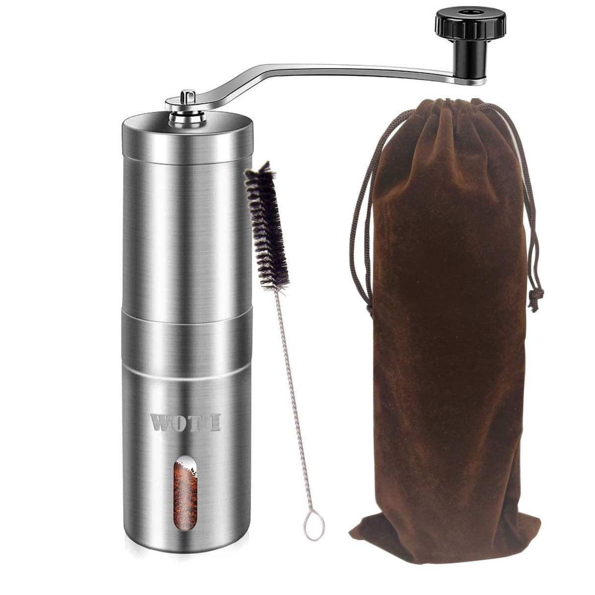 Manual Coffee Grinder, WOT I Stainless Steel Coffee Grinder with Adjustable Ceramic Conical Burr, Ideal for Home, Office, and Travelling, AeroPress Compatible, Come With A Spices Brush and Storage Bag by WOT I