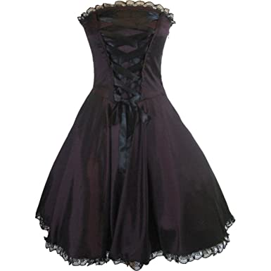 56d0785f637d Amazon.com: Skelapparel Gothic Rockabilly Purple Satin Corset Lace ...