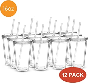 Civago Clear Insulated Acrylic Plastic Tumbler Set with Lid and Reusable Straw, Classic Double Wall Tumbler Cup - 16 oz, 12 Pack Bulk (All Clear)