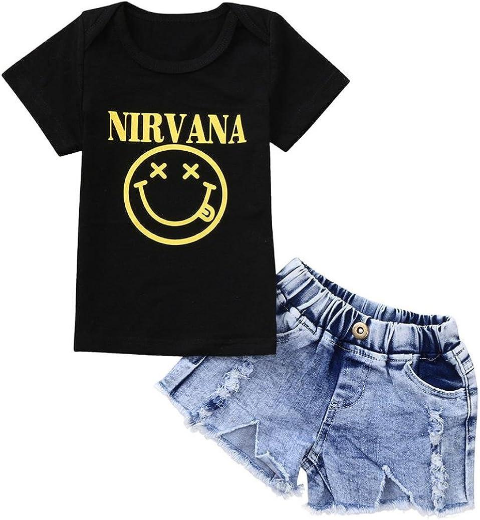 Toddler Baby Girl Short Sleeve Smile Print T-Shirt+Denim Shorts Sets for 0-3 T TM Kids Smile Outifts,Jchen