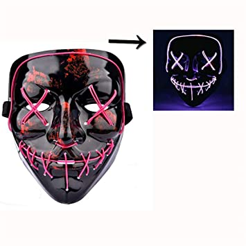 Halloween LED Mask The Purge Mascara Led Mask Light Up Neon Skull Mask Party Glow in