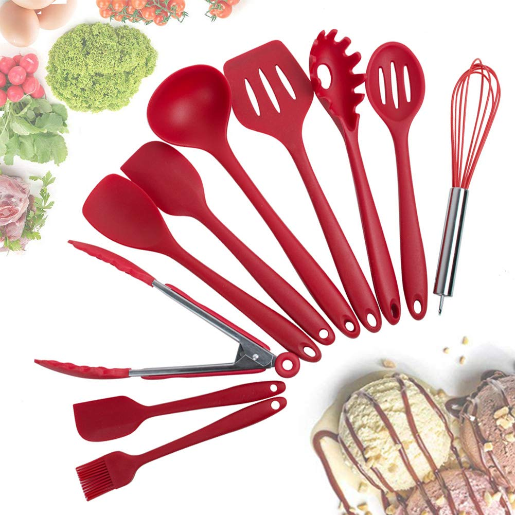 ixaer Silicone Kitchen Utensils Cooking 10 Piece Non-Stick Environmental Protection Cookware Silicone Kitchen Gadgets Tools Gifts