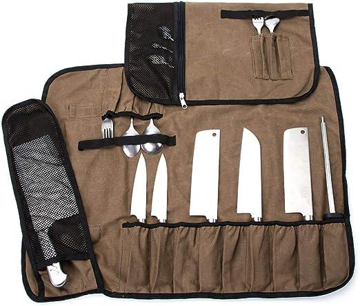 Bolsa de lona encerada para cuchillos de chef, estuche multiusos para cuchillos, rollo de cuchillos con