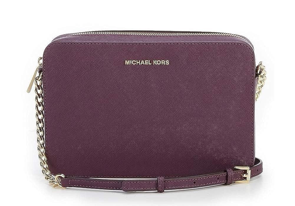 944651900359 MICHAEL KORS Jet Set Travel Large Saffiano Leather Crossbody (Damson)   Handbags  Amazon.com