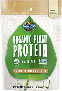 Garden of Life Organic Plant Protein Smooth Unflavored Powder, 10 Servings - Vegan, Grain Free & Gluten Free Plant Based Protein Shake, 1B CFU Probiotics, No Sugar or Stevia - Packaging May Vary