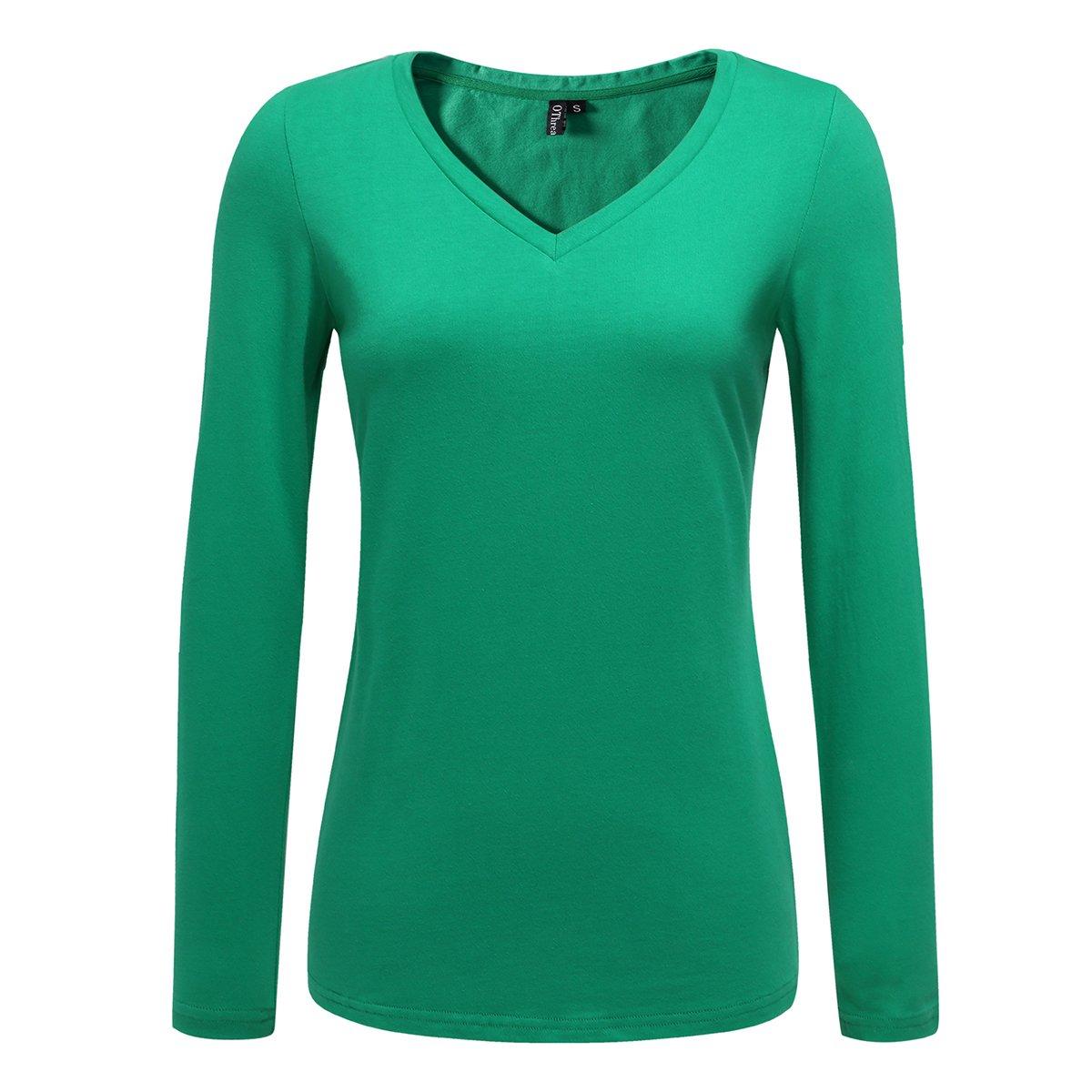 OThread & Co. Women's Long Sleeve T-Shirt 100% Cotton Basic Casual V-Neck Tee (Large, Green)