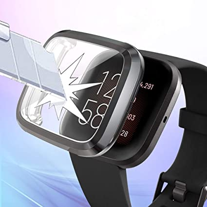 Yukuai Smart Watch with Screen Protector Case for Fitbit Versa 2 Watch Soft Ultra-Slim Clear Scratch Compatible for Fitbit Versa 2 with Full ...