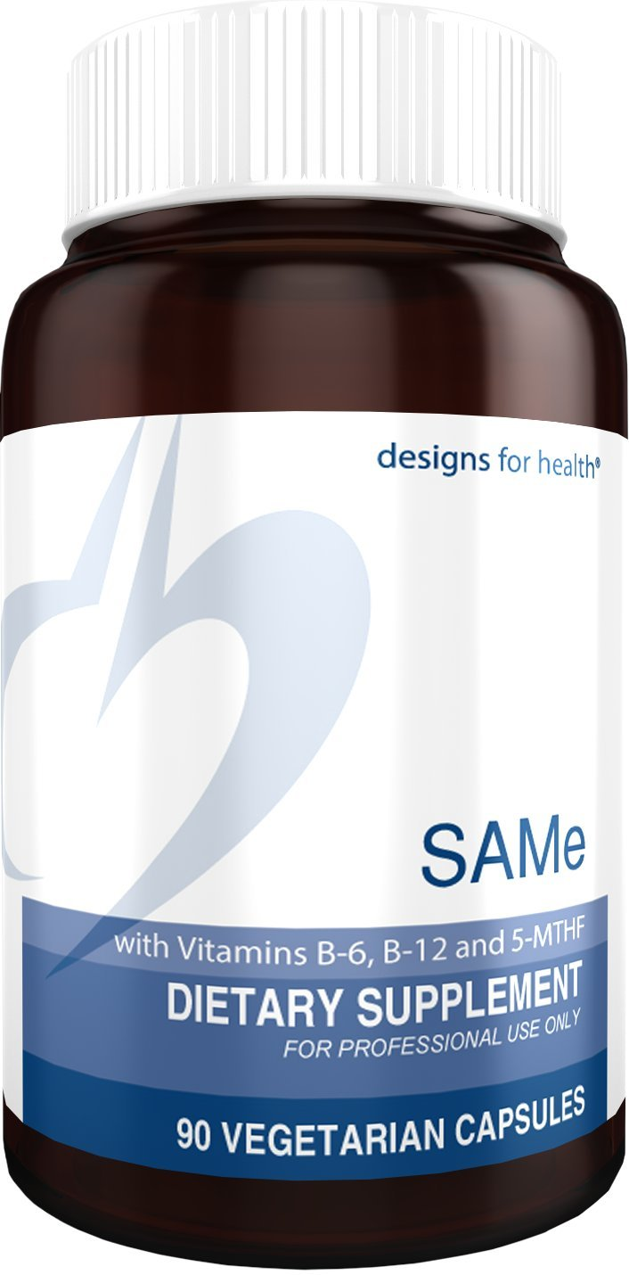 Designs for Health SAMe Capsules with B6, B12 + 5-MTHF - 200mg SAMe + 5-MTHF (Folate) + Methyl B12 (90 Capsules)