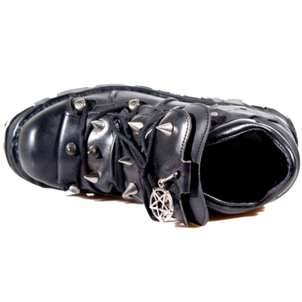 New und Rock Unisex schwarze Lederschuhe mit einem Spike Entwurf und New Pentagramm Amulett. SchnŸrern - 1621ae