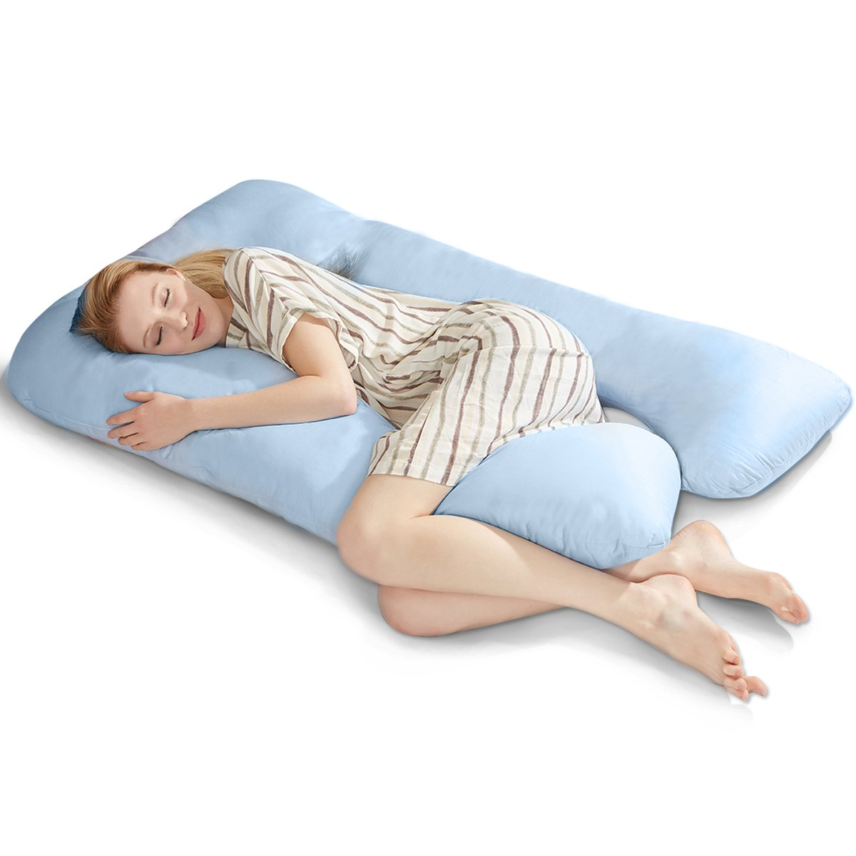 "Puredown U Shaped Maternity/Pregnancy Body Pillow with Zippered Cover, 32""x 56"", Blue"