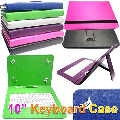 AO GREEN-46 PU Leather Keyboard CASE Cover for Cello 10 inch Android 4.2.2 Tablet Micro USB UK Layout ()