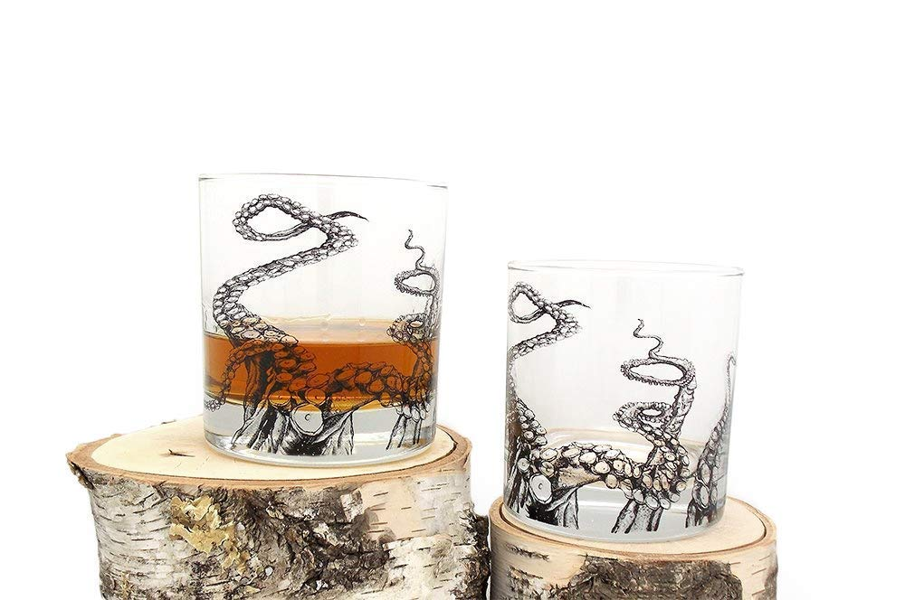 B016AUT5LI Whiskey Glass Set - Octopus Tentacles - Screen Printed Rock Glass Set - Ready to Gift 61mEjdw3n9L