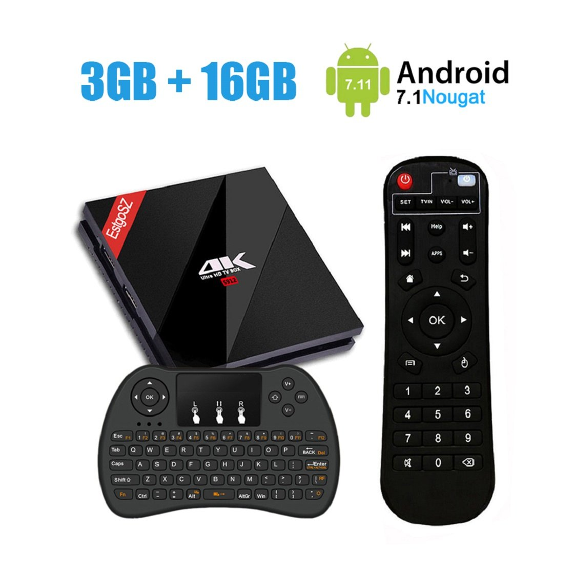 3GB 16GB Smart TV Box with Wireless Keyboard, EstgoSZ Android 7.1 Set Top Box Amlogic S912 Octa Core 64Bits Support 2.4G/5.8G WIFI 4K 3D Bluetooth 4.1/1000M LAN by EstgoSZ