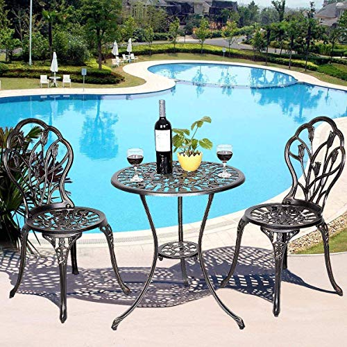 Casart 3 Pcs Bistro Set Cast Tulip Design Antique Outdoor Patio Furniture Weather Resistant Garden Round Table and Chairs Set w/Umbrella Hole (Tulip Design) ()