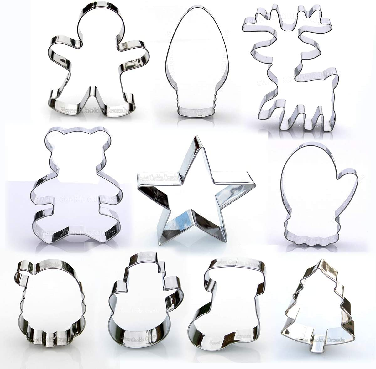 Christmas Cookie Cutter Set, 10 Piece, Stainless Steel