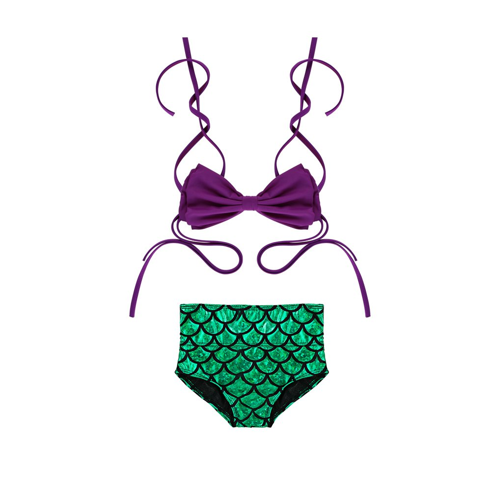 DAXIANG Two Pieces Kids Children Bling Bling Fish Scales Mermaid Bikini