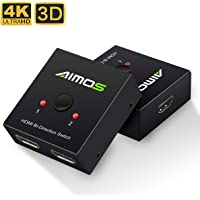 HDMI Switch, AIMOS HDMI Switch Splitter 1 In 2 Out /2 Input 1 Output Supports 4K 3D HD 1080P for Xbox PS4 Roku HDTV