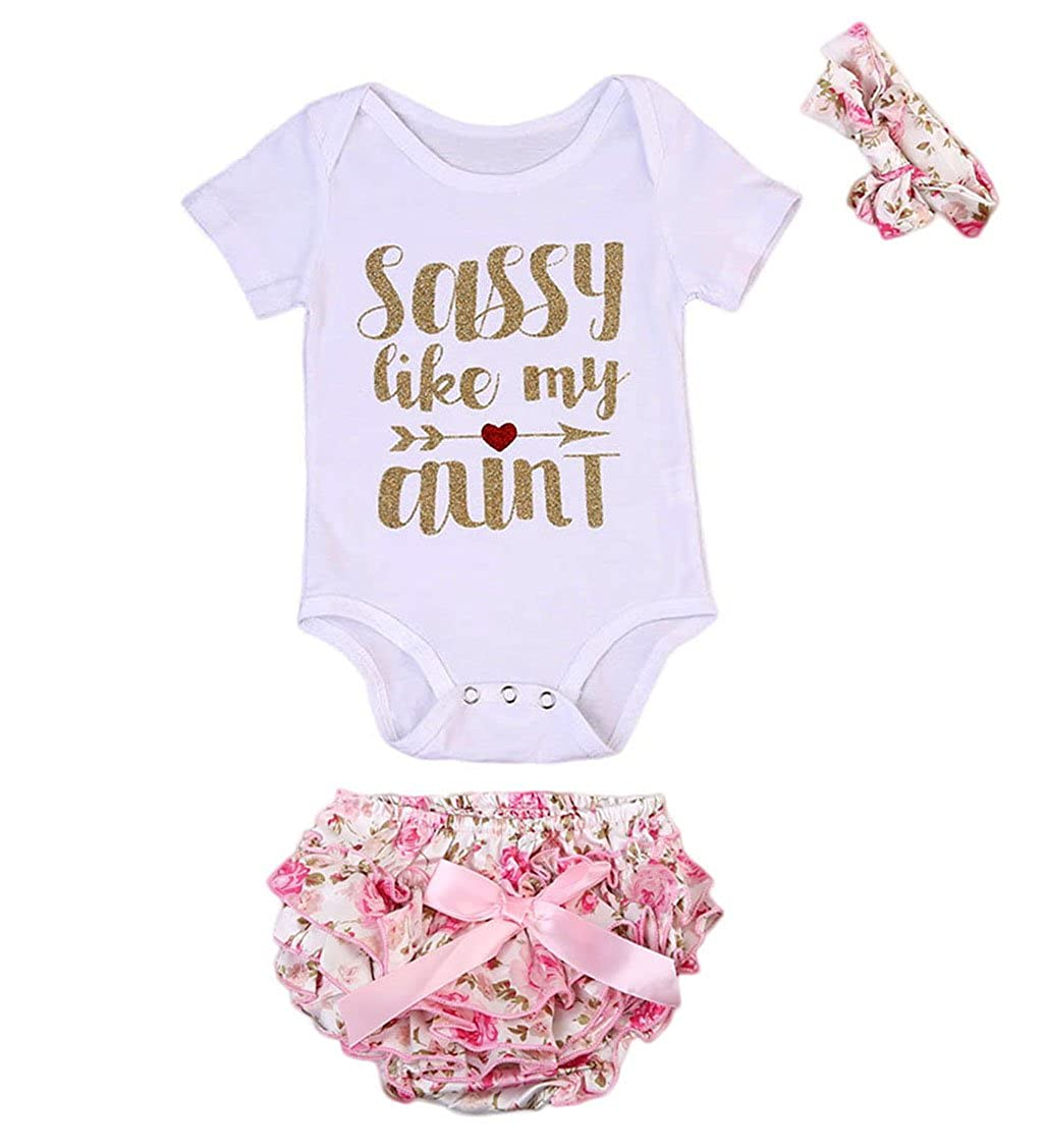 5dbe769d1b Amazon.com: Newborn Baby Girls Sassy Romper+Floral Shorts+Headband 3 Pcs  Clothes Set: Clothing