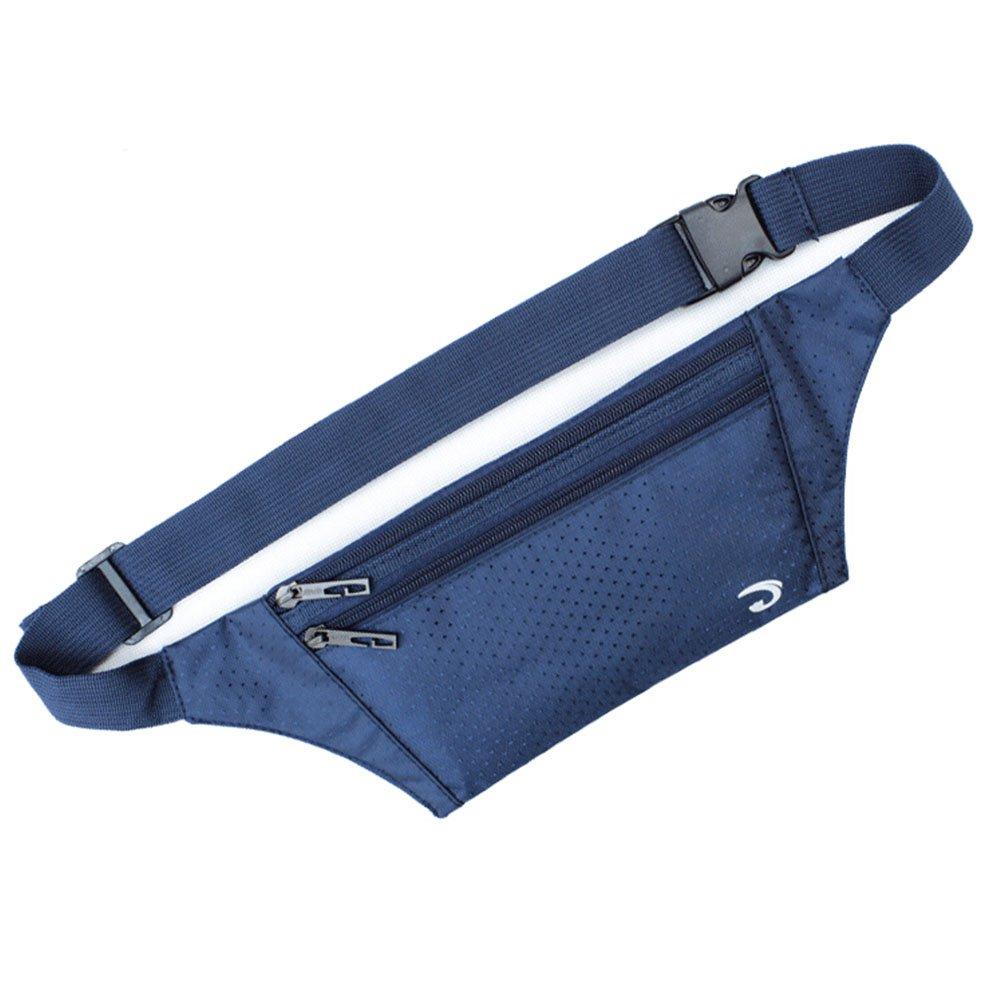 ウエストパックバッグ超薄型非表示財布アウトドアスポーツジョギング旅行ランナーベルトwithクレジットカードプロテクタースロット B00Q50CUC0 ネイビー