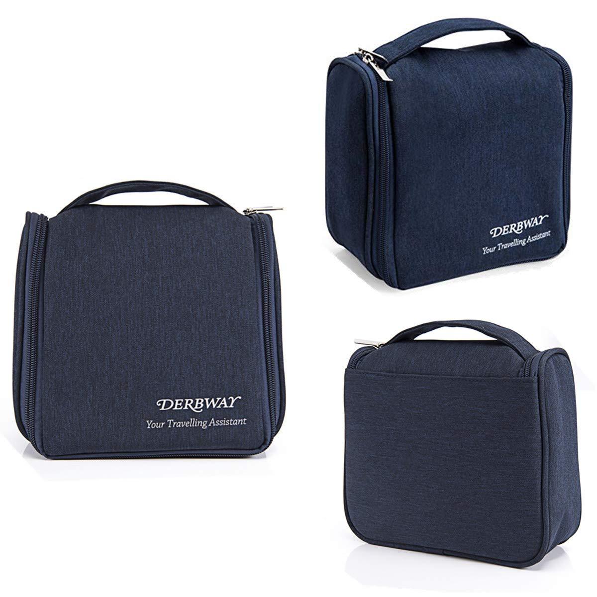 Bolsas de Aseo, gancho colgante bolso de tocador, Cosméticos Neceser de Viaje Impermeable y Plegable Multifuncional Viaje, Multi-bolsillo Neceser colgante, 17*8*21cm , Azul Oscuro