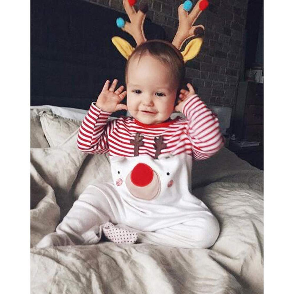 WARMSHOP Baby Christmas Deer Striped Romper Snap on Long Sleeve Cartoon Infant Creepers Bodysuit Outfits Cloth