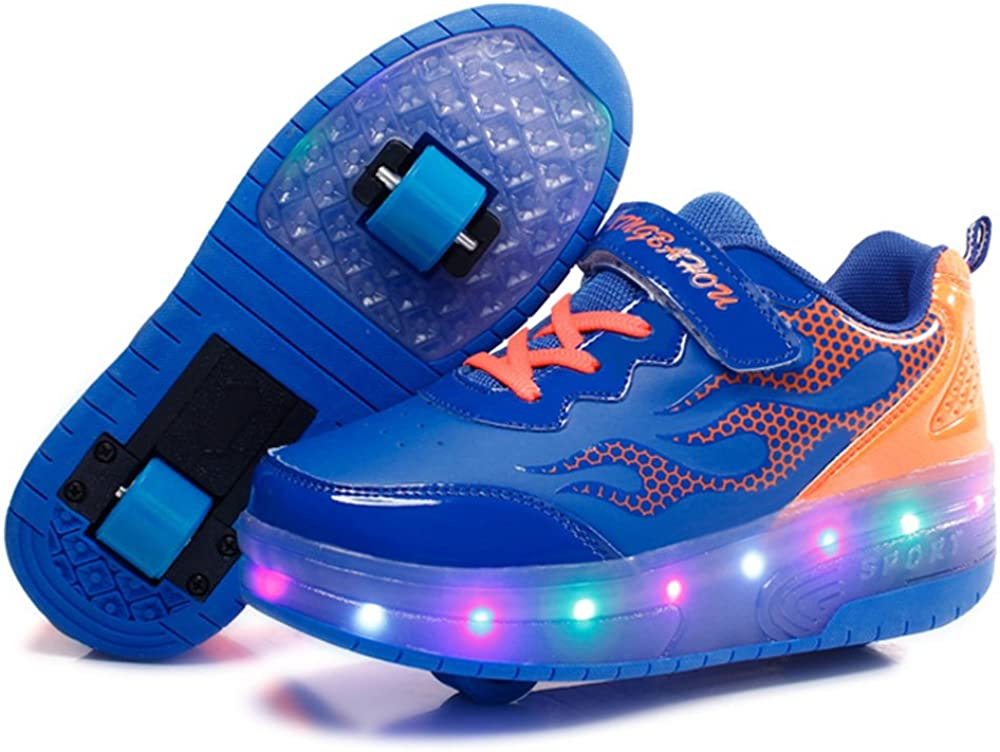 xiaoyang Kids Girls Boys LED Light Up Double Wheels Roller Shoes Skates Sneakers