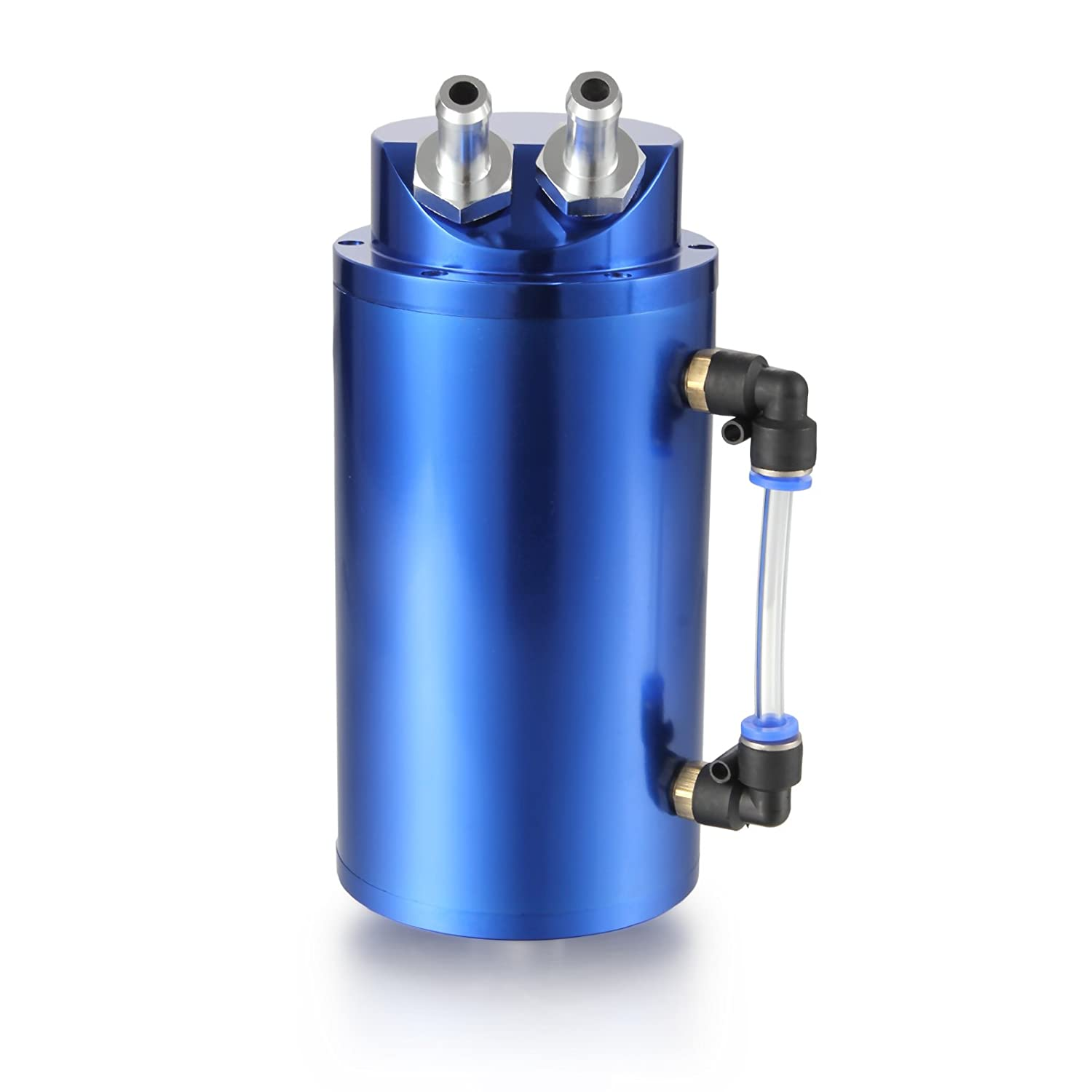 Dromedary Blue Aluminum Oil Reservoir Catch Can Tank Kit Breather Filter Baffled Dromedary Autoparts
