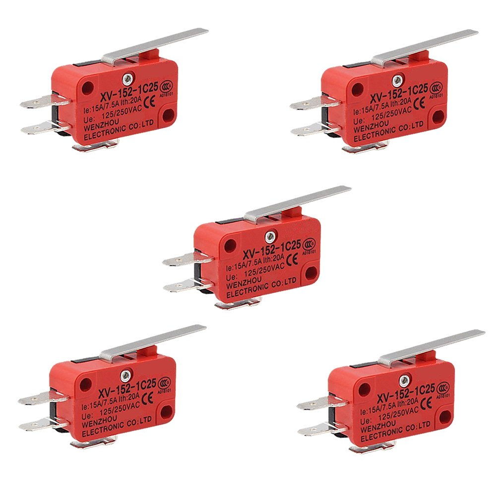 OdiySurveil (TM) XV-152-1C25 Hinge Lever Type Miniature Micro Switch(Pack of 5)