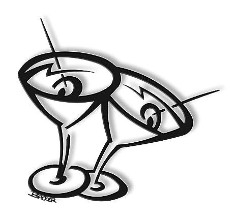 Amazon.com: Martini Time Metal Wall Art Sculpture-20 H x 20 ...