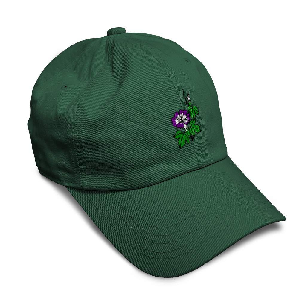 Custom Soft Baseball Cap Flower Morning Glory Embroidery Twill Cotton