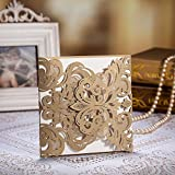 Wishmade 50x Gold Laser Cut Wedding Invitations Cards Kit With Envelopes and Seals CW3109