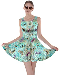 CowCow Womens Watercolor Beetles Insect Bee Butterfly Butterflies Bugs  Dragonfly Skater Dress b99dbc805