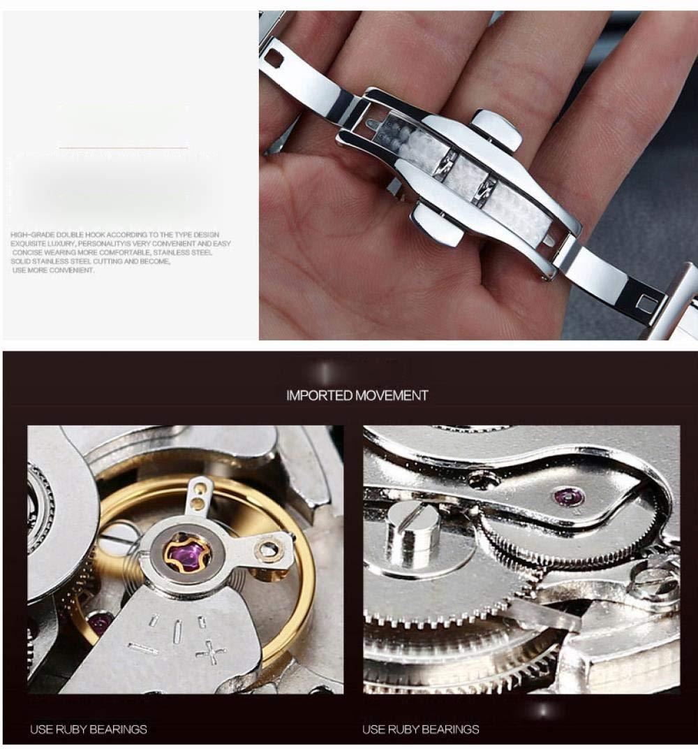 Herrklockor, mode rostfritt stål svänghjul automatisk urholkad mekanisk klocka Rose Shell + Rose Belt + Black Face