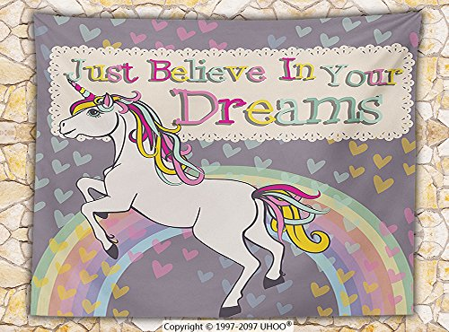 Teen Girls Decor Fleece Throw Blanket Unicorn With &quotBelieve In Your Dreams