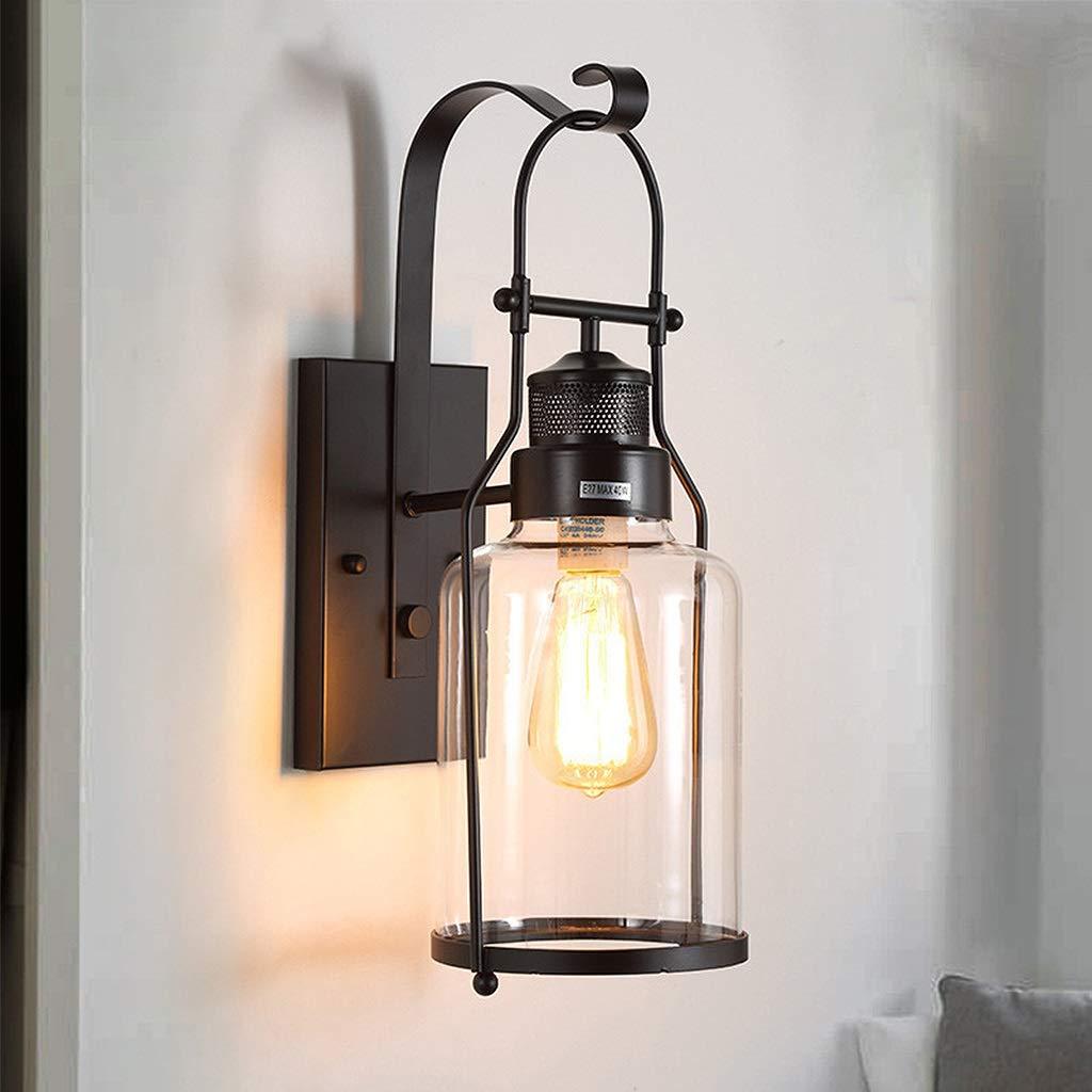 Schwarz Vintage Iron Art Wandlampen, Wandleuchte E27 Edison Birne antike Leuchte, Gang Wandleuchte Außenbeleuchtung, kreative Glas Balkon Wandleuchte A+ (Farbe   Schwarz)