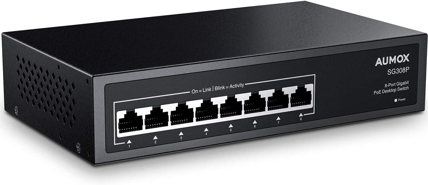 Aumox 8 Port Gigabit POE Switch, 8 Port POE 120W, Gigabit Ethernet Unmanaged Network Switch, Plug and Play, Sturdy Metal Housing, Traffic Optimization (SG308P)