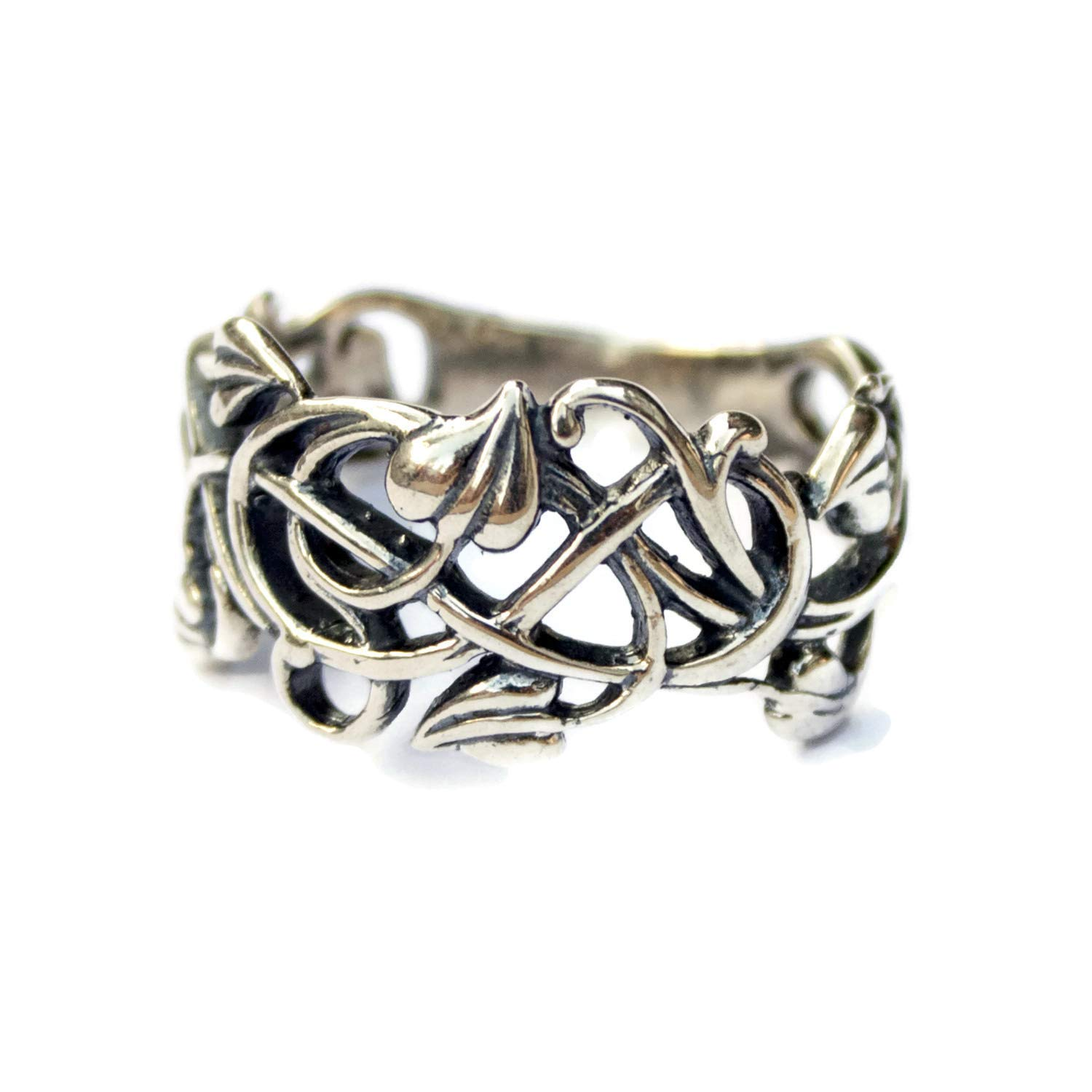 Sterling Silver Filigree Vintage style Rings for Women Swirl Vine Leaf Ring Elvish Elf Floral Jewelry