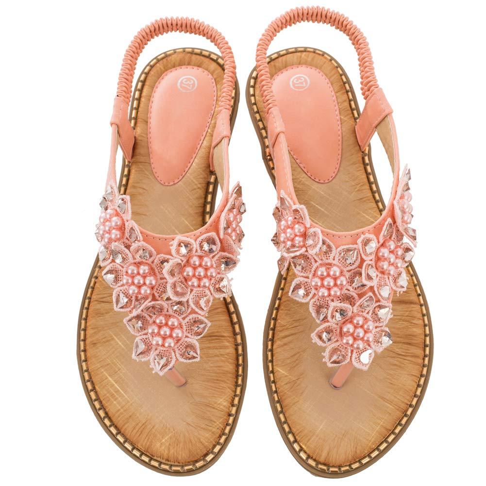 Women's Pink Rhinestone Pearl Flower Back Strap Beach Flat Sandals