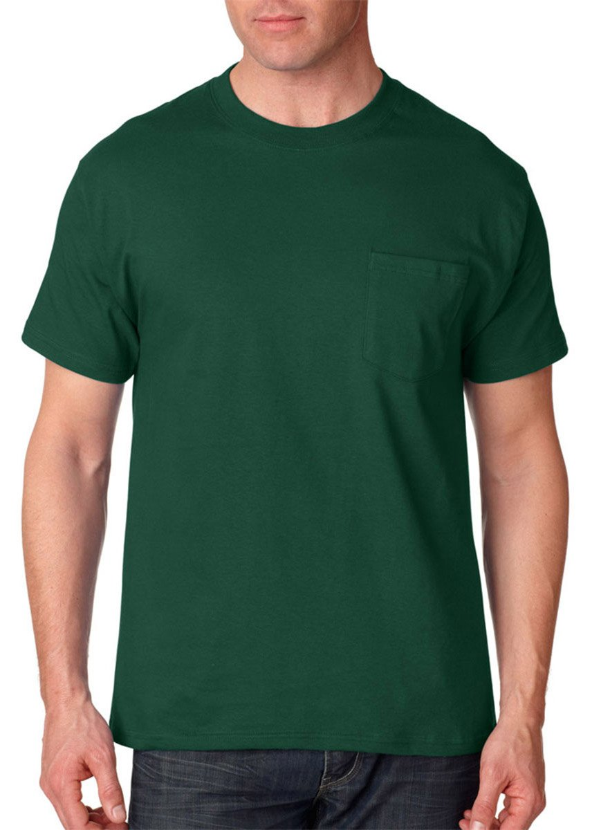 Hanes Short Sleeve Beefy Pocket T-Shirt - 5190, Forest Green, XL US (Chest 46-48)