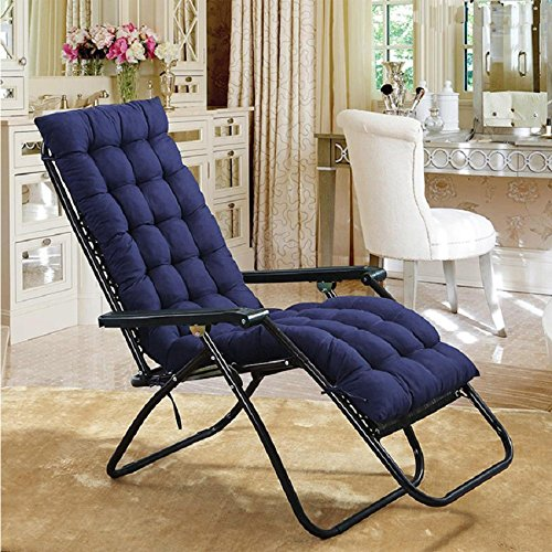AuSHOP Lounge Chaise Cushion Sun Lounger Garden Furniture Patio Recliner Chairs Relaxer Pad Cushion (Navy Blue)
