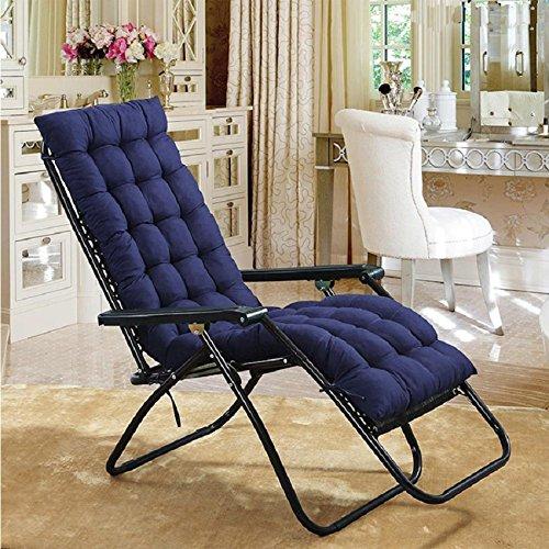 Blue Recliner Cushion - AuSHOP Lounge Chaise Cushion Sun Lounger Garden Furniture Patio Recliner Chairs Relaxer Pad Cushion (Navy Blue)