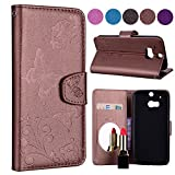 Scheam Butterfly Pattern PU Leather Wallet Case with Mirror and Card Slots Cover for HTC One M8 Brown